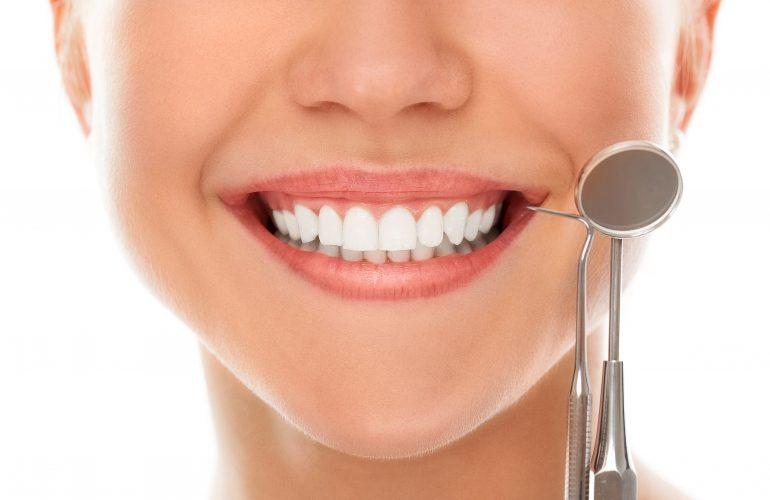 woman smiling showing teeth
