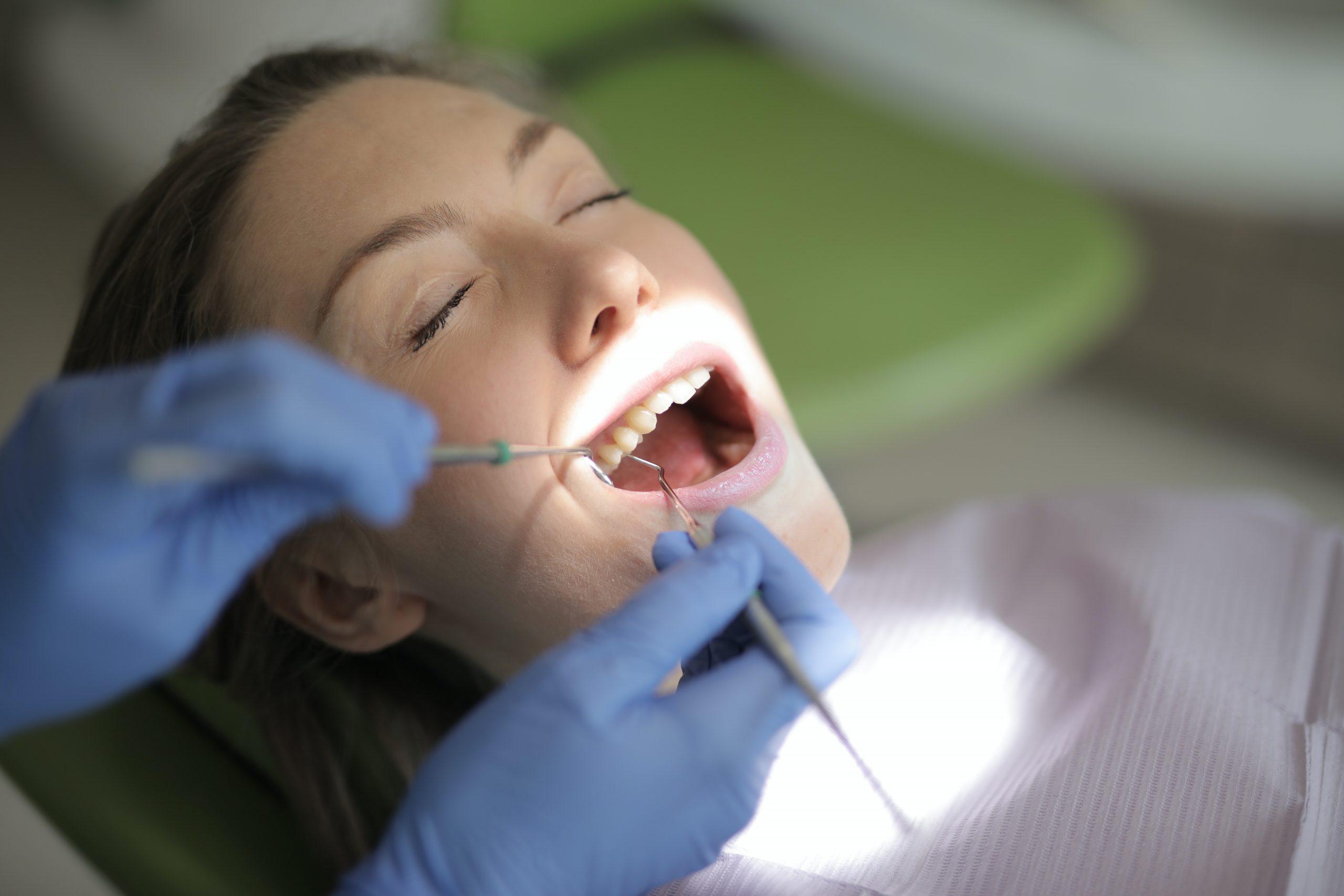 Dentist checking patient teeth